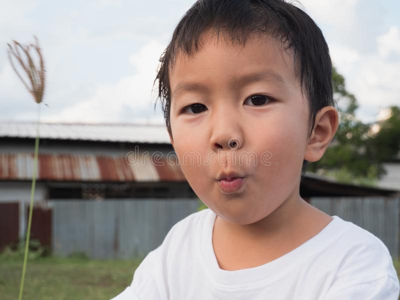 Asian Thai cute child boy make funny face and mouth while playing outdoors with natural rural background in summer. royalty free stock photo