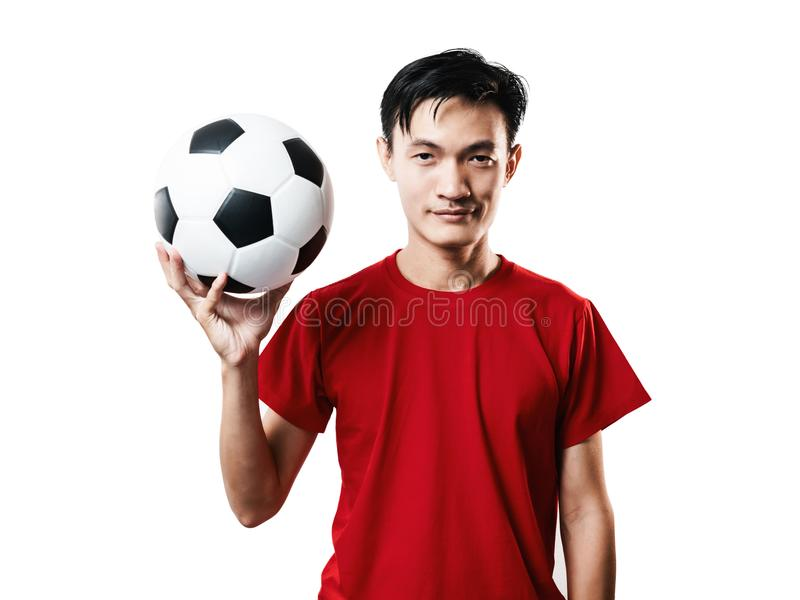Asian Thai people soccer fan football in red sleeve shirt isolated on white. stock photo