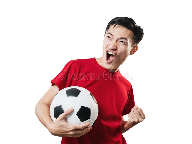 Asian Thai people soccer fan football in red sleeve shirt isolated on white. royalty free stock photos