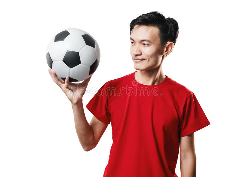 Asian Thai people soccer fan football in red sleeve shirt isolated on white. stock photography