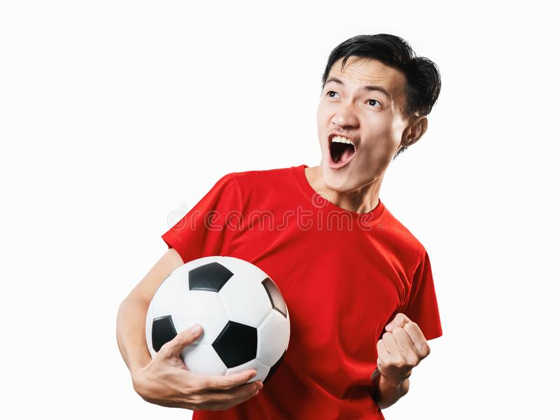 Asian Thai people soccer fan football in red sleeve shirt isolated on white. stock image