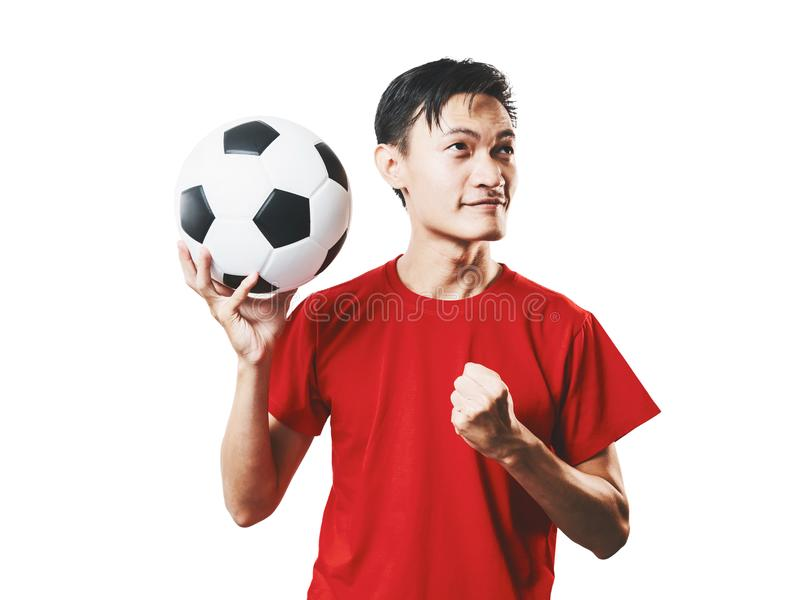 Asian Thai people soccer fan football in red sleeve shirt isolated on white. royalty free stock photography
