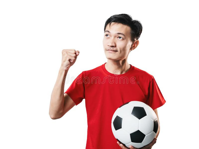 Asian Thai people soccer fan football in red sleeve shirt isolated on white. stock images