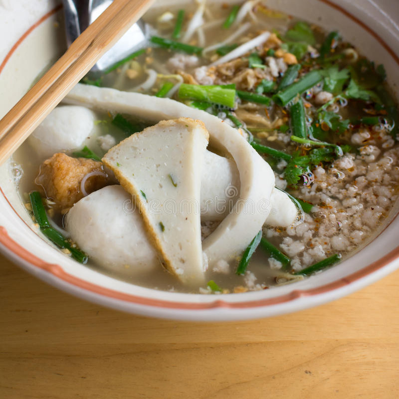 Asian tradition noodle. With fishball in bowl royalty free stock image