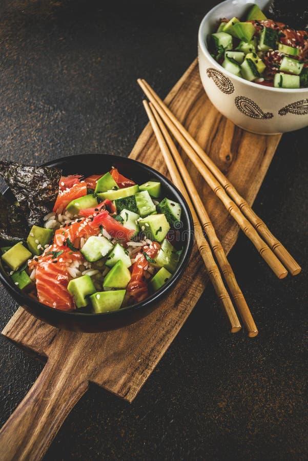 Sushi poke bowl royalty free stock images