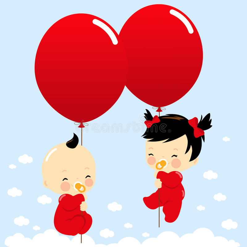 Asian twin babies holding balloons. Vector Illustration of cute newborn twin girl and boy Asian babies flying in the sky holding balloons royalty free illustration