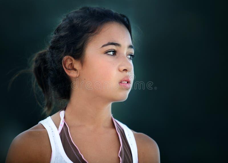 Asian unhappy teenage girl stock image