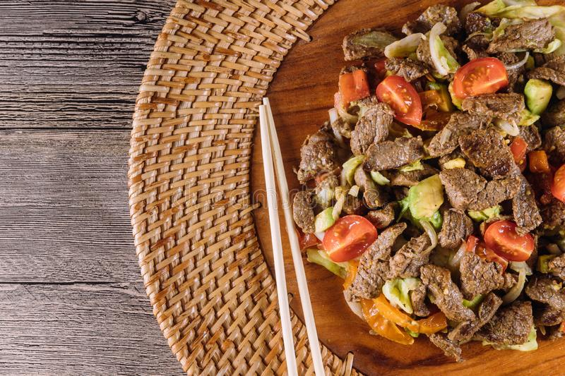 Asian, vietnam or thai cuisine. Beef with vegetable royalty free stock photo