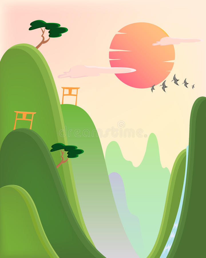 Download Asian view stock vector. Image of asian, style, landscape - 21311839