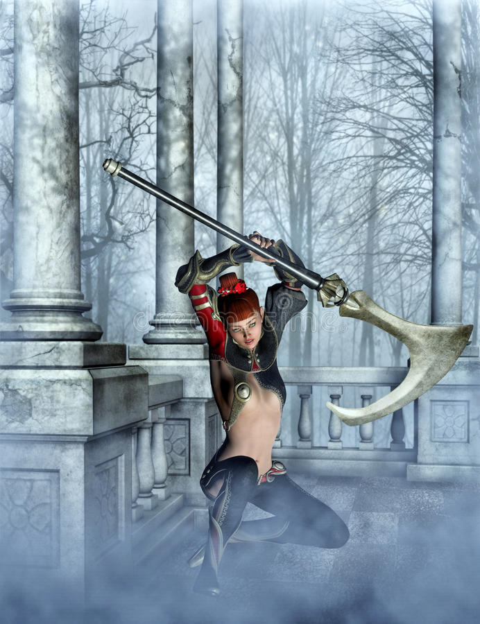 Asian warrior with axe 3d, CG stock image