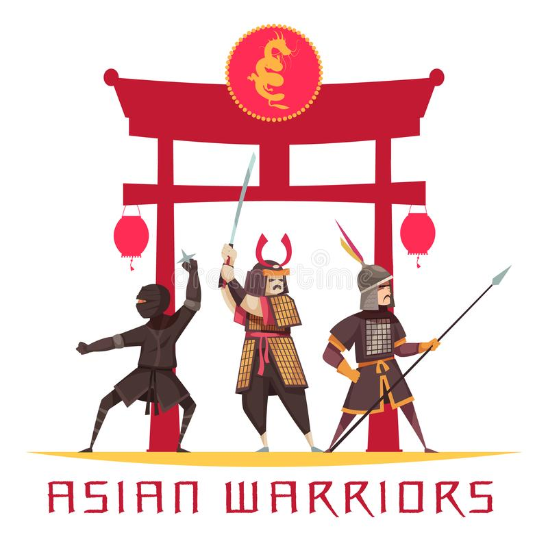 Asian Warriors Concept. Asian ancient warriors concept with weapons and uniform flat vector illustration vector illustration