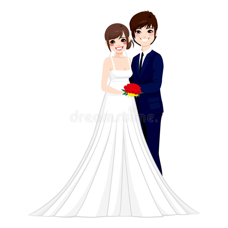 Asian Wedding Couple Posing. Beautiful young Asian couple hugging tenderly together posing on their wedding day royalty free illustration