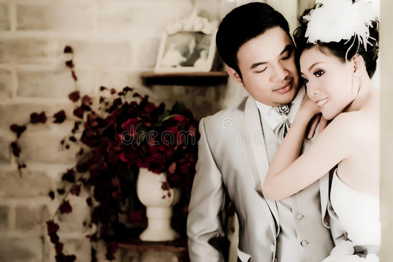 Asian Wedding Couple Show Concept Of Love Royalty Free Stock Photography