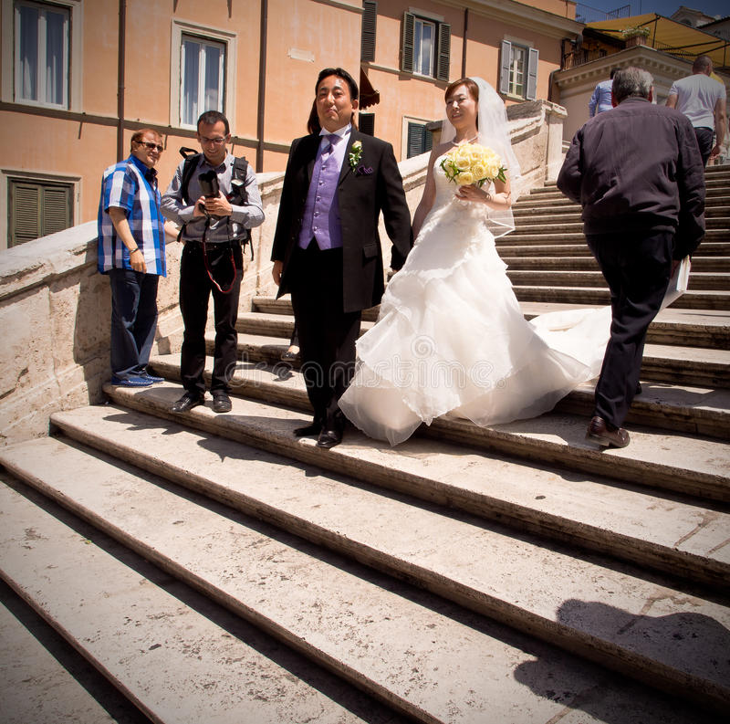 Free Asian Wedding On Spanish Steps In Rome Stock Photos - 27865513