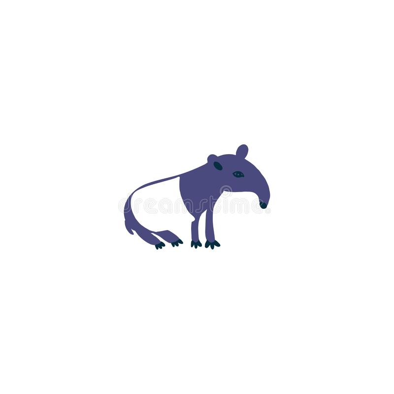 Asian wild animal, cartoon character design tapir, Cute flat vector illustration isolated on white background, South royalty free illustration