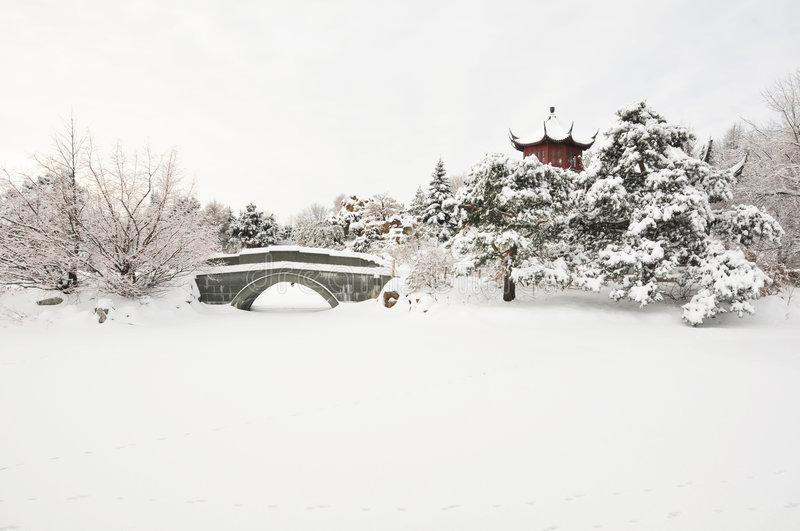 Asian winter. Chinese style pagoda in a winter wonderland setting after a snow storm...part of the Montreal botanical garden...Chinese garden...plenty of copy royalty free stock image