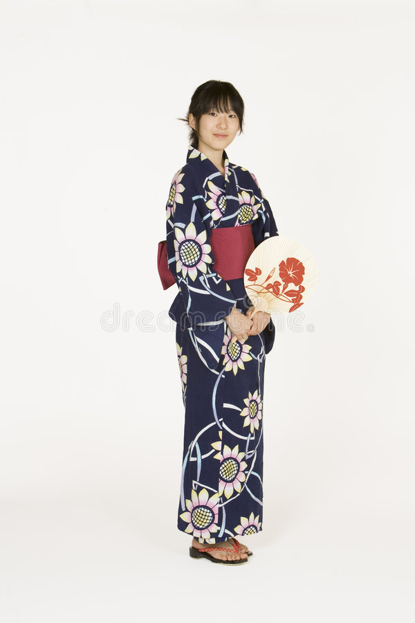 Asian woman. Model Release 302 Asian teen dressed in a Kimono stock photo