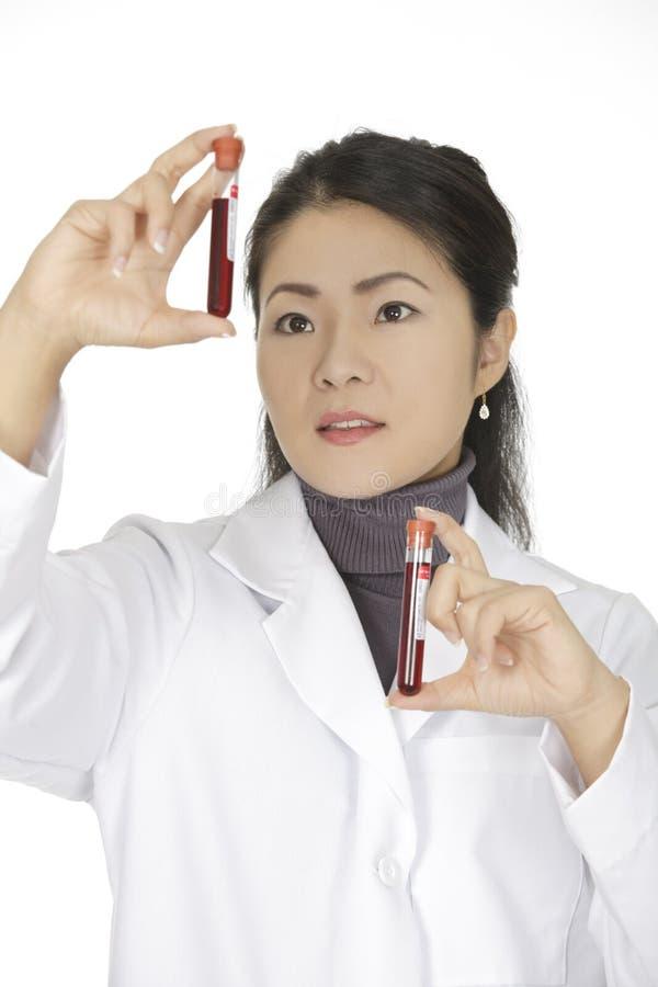 Asian woman laboratory technician examining a tube of blood royalty free stock photo