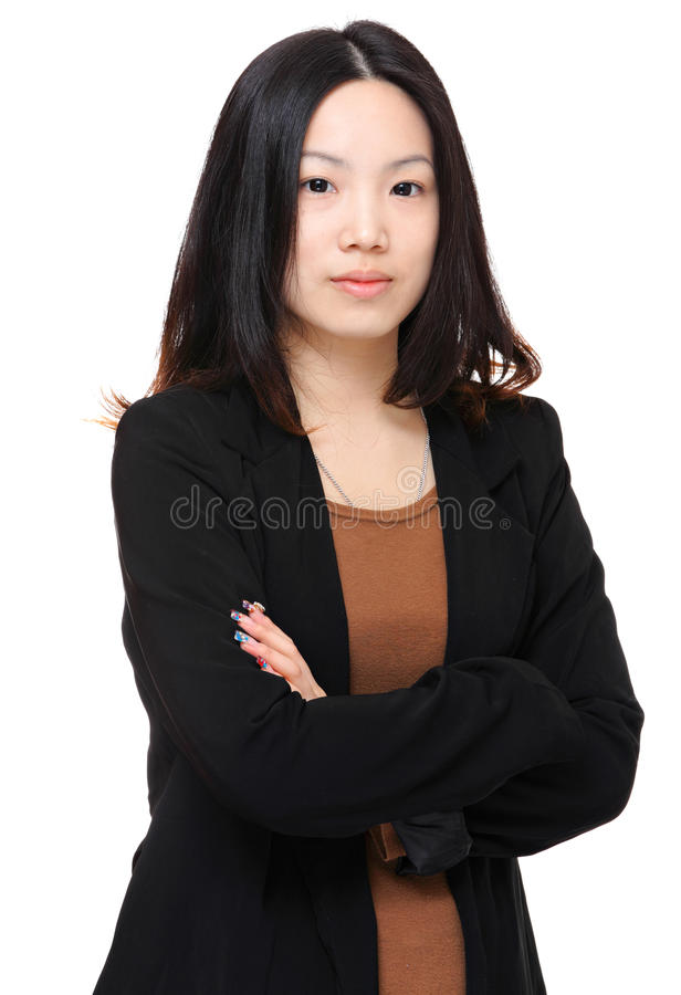 Asian woman. Over white background stock image