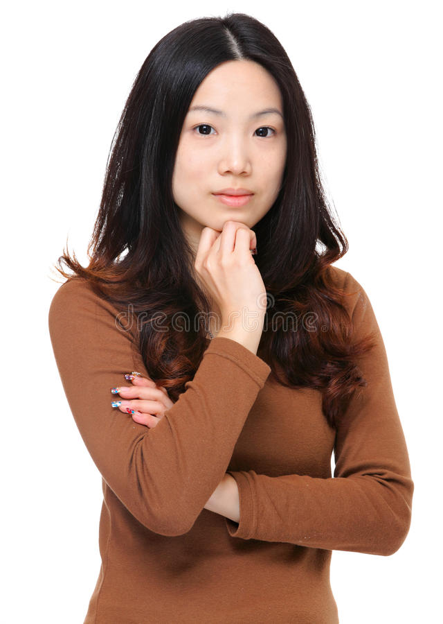 Asian woman. Over white background stock photography