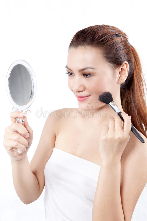 Download Asian Woman Applying Make Up Stock Photo - Image of isolated, makeup: 21679600
