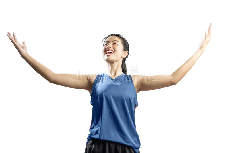Asian woman basketball player with a happy expression royalty free stock photography