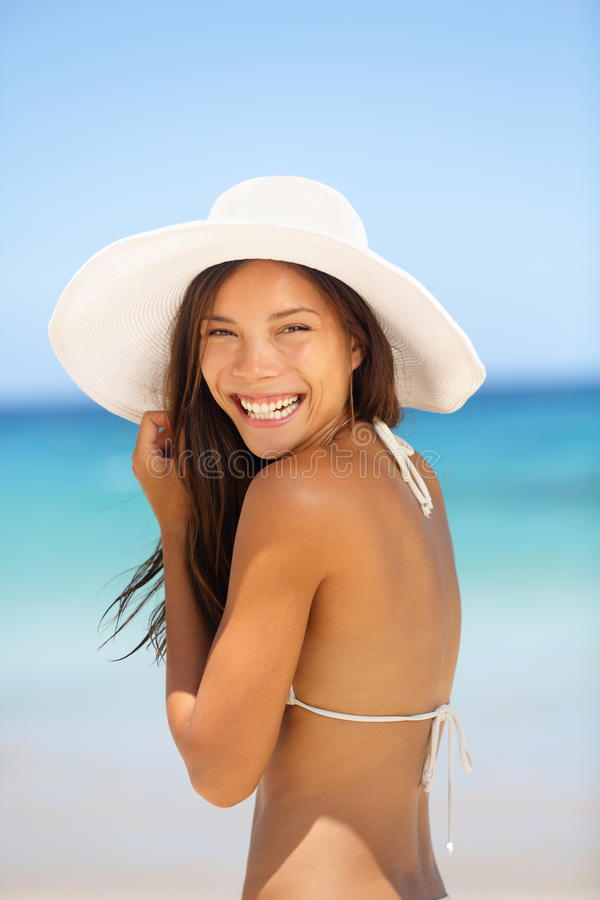 Asian woman beach portrait royalty free stock photos