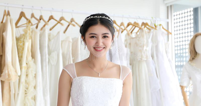 Asian women Beautiful bride smiling and happy Wedding stock photo