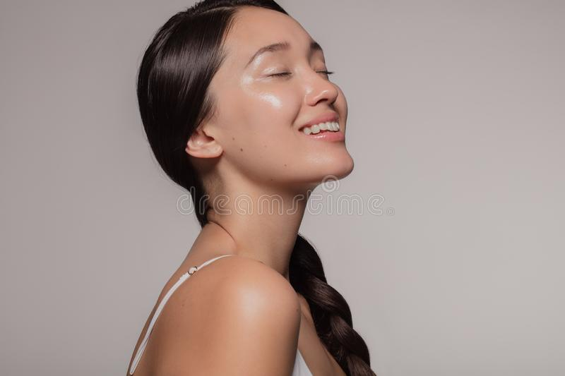 Asian woman with beautiful and healthy skin stock photos
