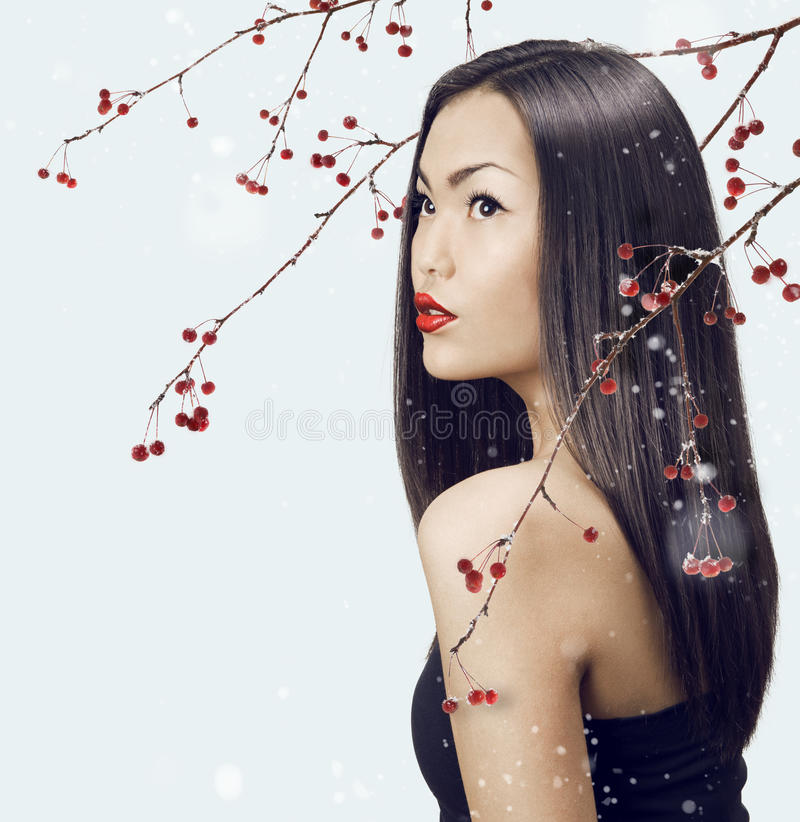 Asian woman beauty face closeup portrait. Beautiful attractive g royalty free stock photography