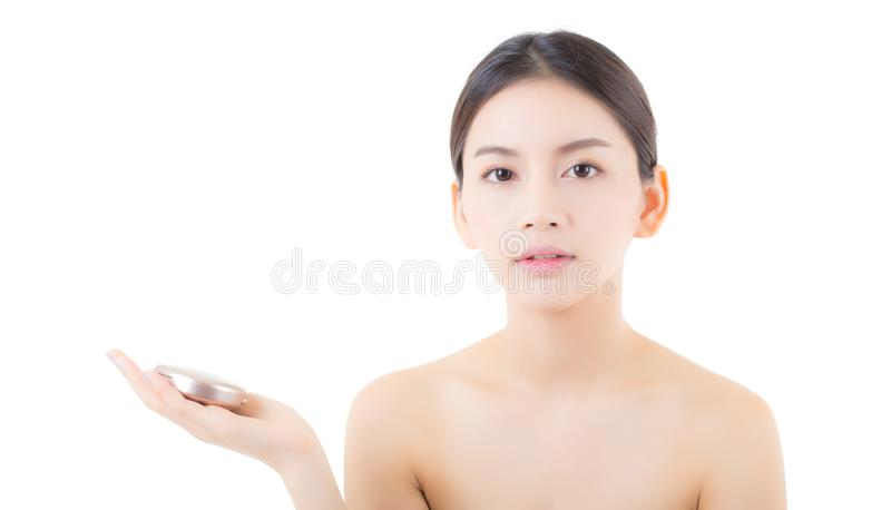 Asian woman beauty holding powder puff, cosmetics beautiful concept. The asian woman beauty holding powder puff, cosmetics beautiful concept stock image