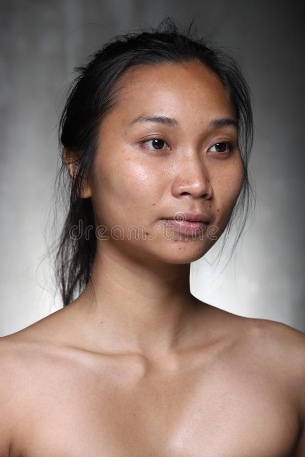 Free Asian Woman Before Make Up Hair Style. No Retouch, Fresh Face Royalty Free Stock Image - 127293766