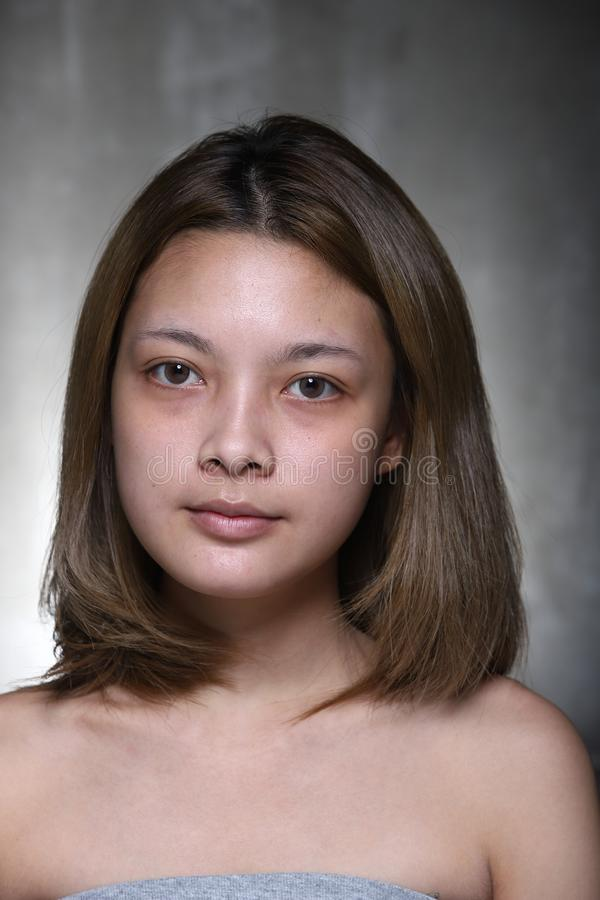 Free Asian Woman Before Make Up Hair Style. No Retouch, Fresh Face Stock Images - 127293844