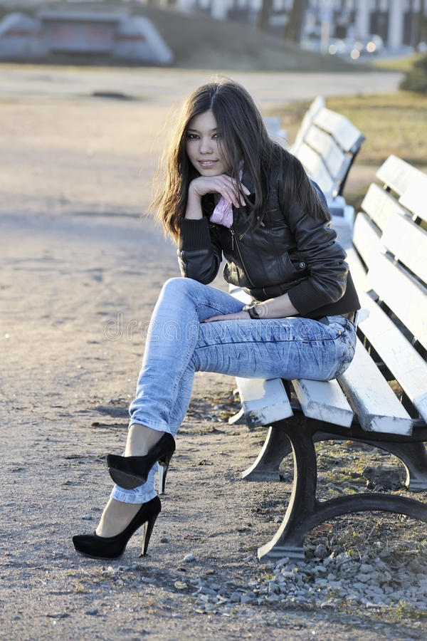 Download Asian woman on bench stock photo. Image of cute, outside - 14475530