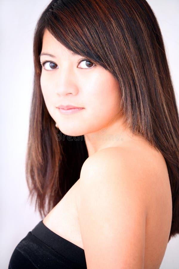 Asian Woman Black Top stock photo