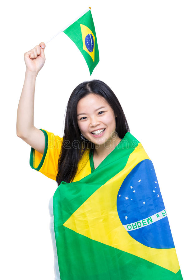 Asian woman with Brazil flag. Isolated on white royalty free stock photos