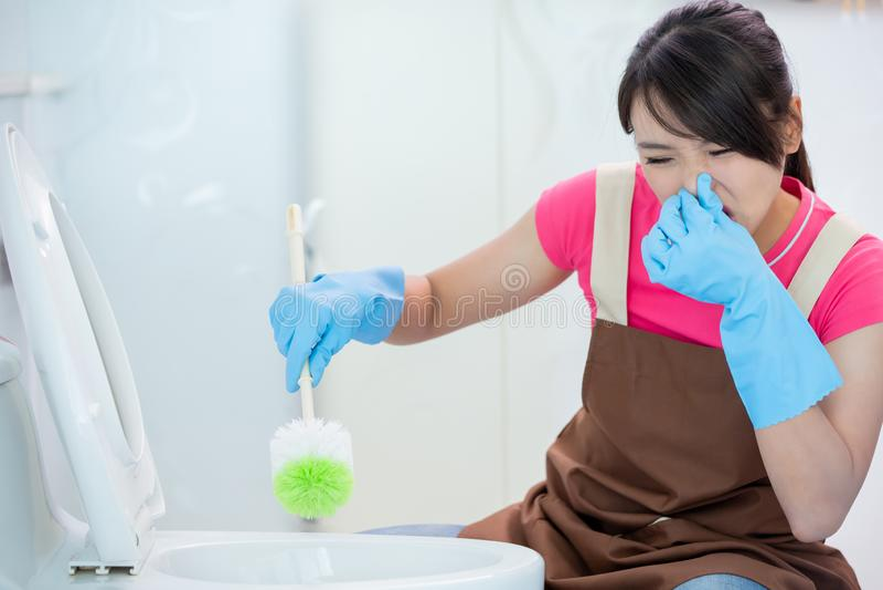 Woman brush the toilet stock photos