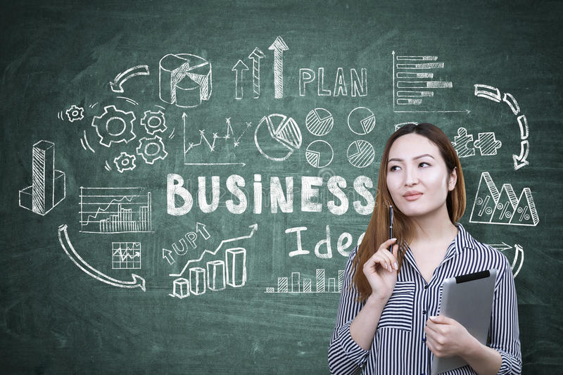 Asian woman and business idea on green royalty free stock photo