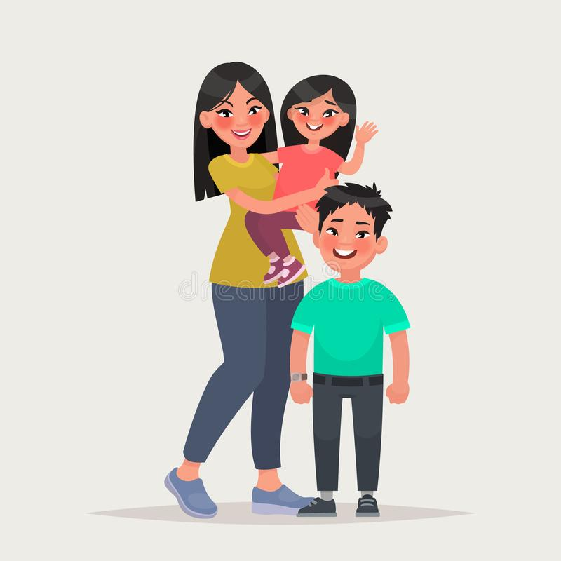 Asian woman with children. Mom with daughter and son. Vector ill royalty free illustration