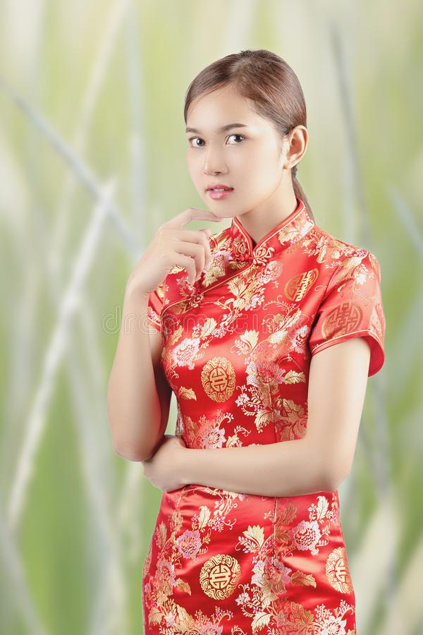 Asian woman in chinese dress traditional stock image