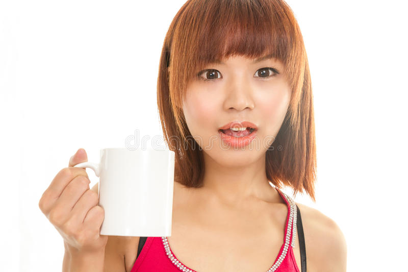 Asian woman with coffee cup royalty free stock images