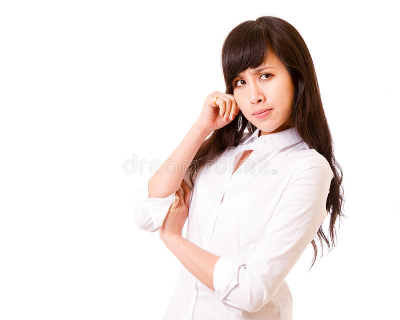 Asian woman deep in thought stock images
