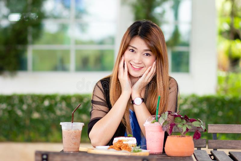Asian woman with desserts stock photos