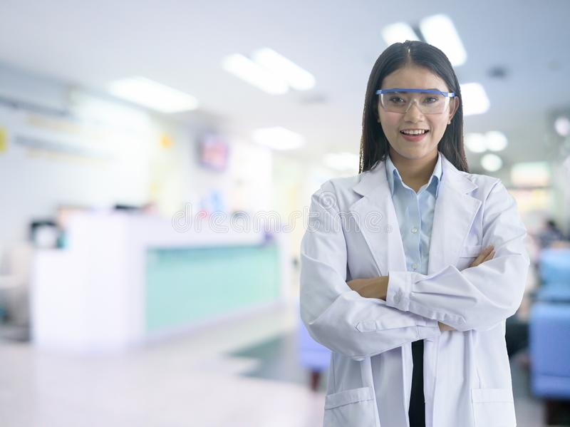 Asian woman doctor has ready to service for the customer with smile and happy in the hostipal stock images