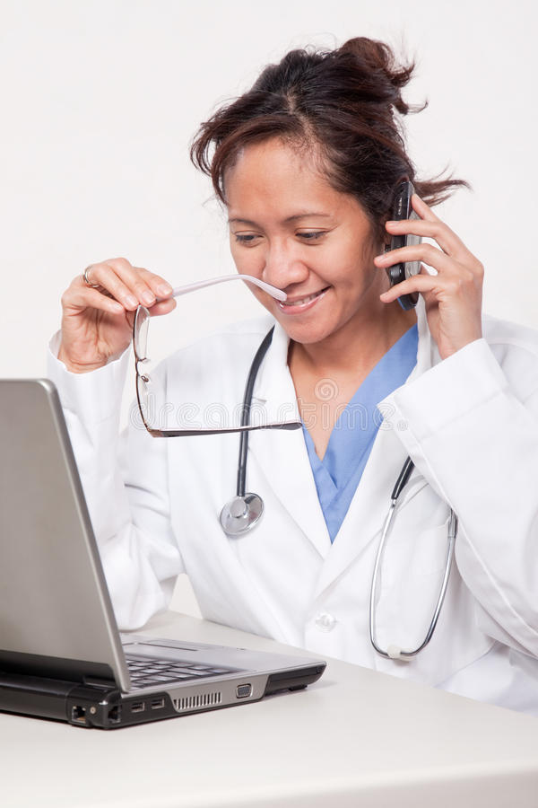 Asian woman doctor physician stock photo