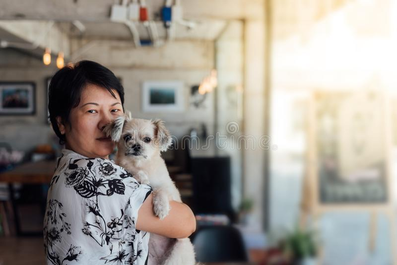 Asian woman and dog in coffee shop cafe. Asian woman and dog so cute mixed breed with Shih-Tzu, Pomeranian and Poodle in coffee shop cafe royalty free stock photo