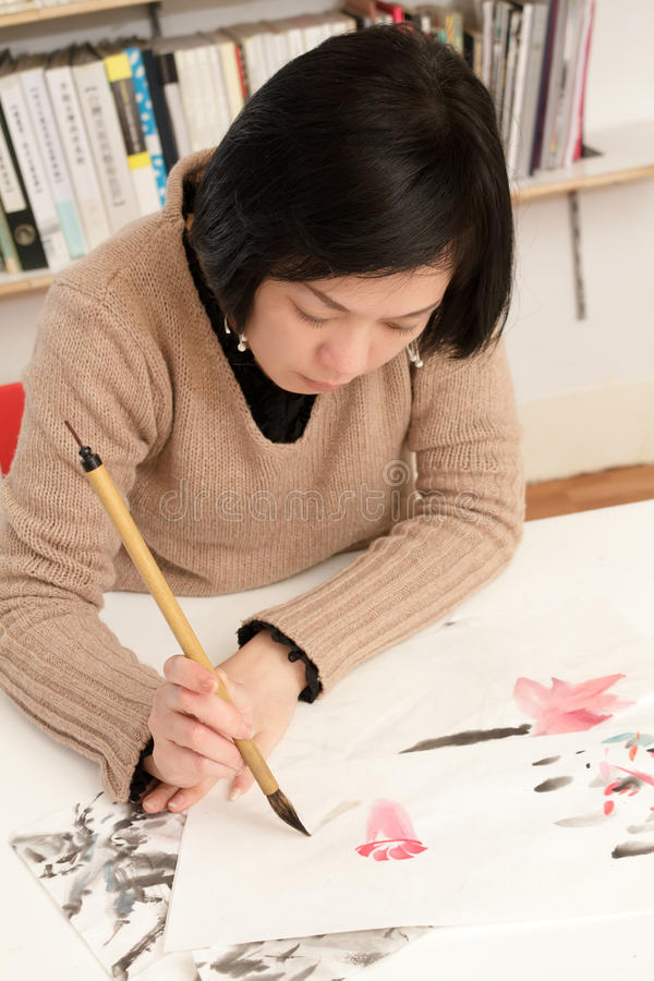 Download Asian woman drawing stock photo. Image of image, figure - 18875710