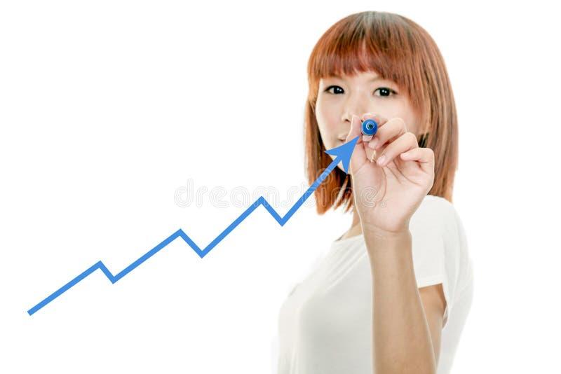 Asian woman drawing graph on virtual board stock photos