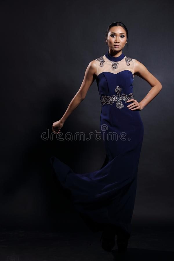 Asian Woman In Evening Long Ball Dress Stock Photo - Image of ...