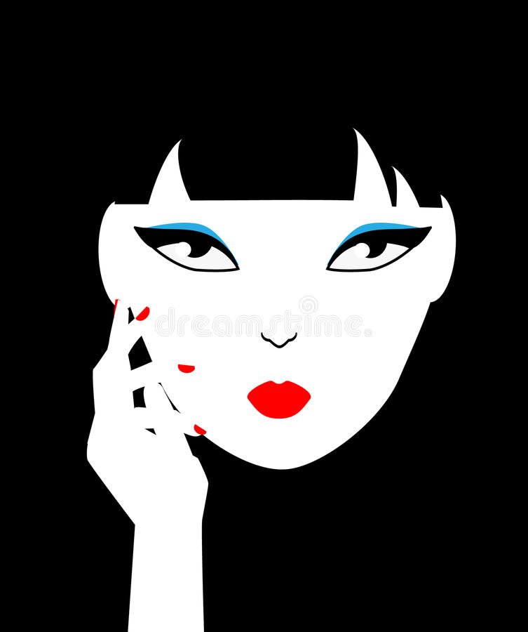 Asian woman face. Graphic female portrait. Fashion illustration stock illustration